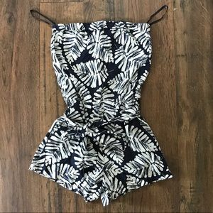 Banana Republic Blue/white Strapless Linen Romper